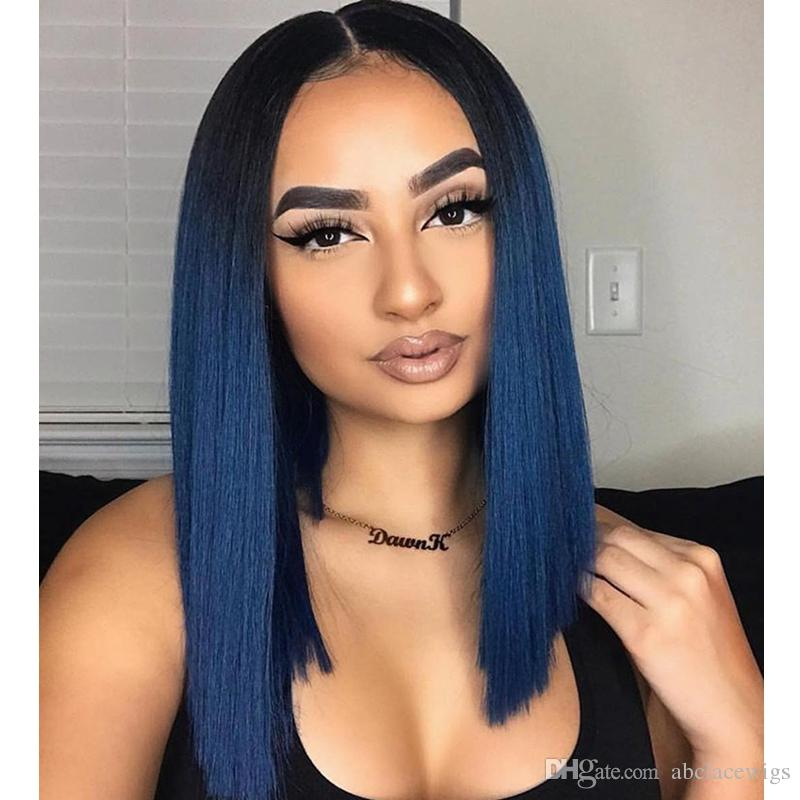 Fashion 18inch Dark Root Ombre Blue Wig Middle Part Short Bob Straight Lace  Front Wigs Synthetic High Temperature African American Women Wig Lace Wigs  Uk ... 2e1328b900