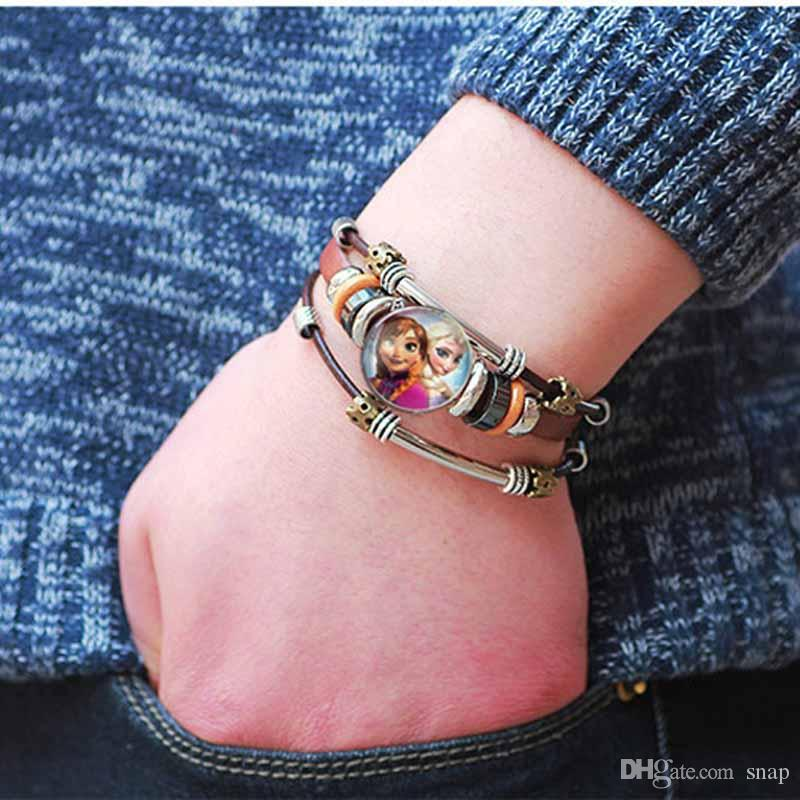 Hot Wholesale 104 Original Genuine Leather Retro fashion Bracelet 18mm Snap Button Jewelry Charm Jewelry for women men gifts
