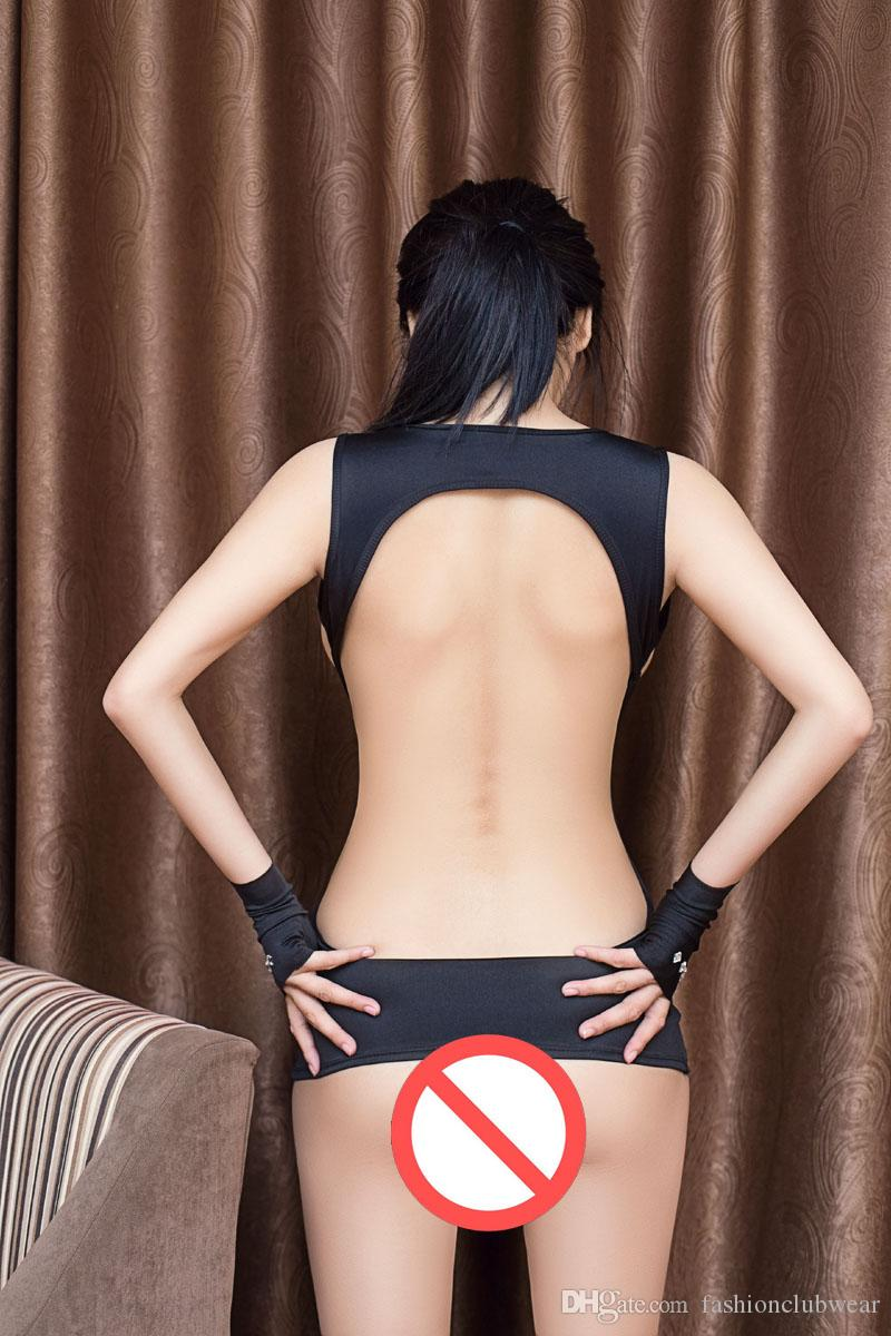 Wetlook Nero con borchie Cut out Abito con bende Sexy Lingerie Erotic Open Bust Backless Babydoll Sexy Night Clubwear