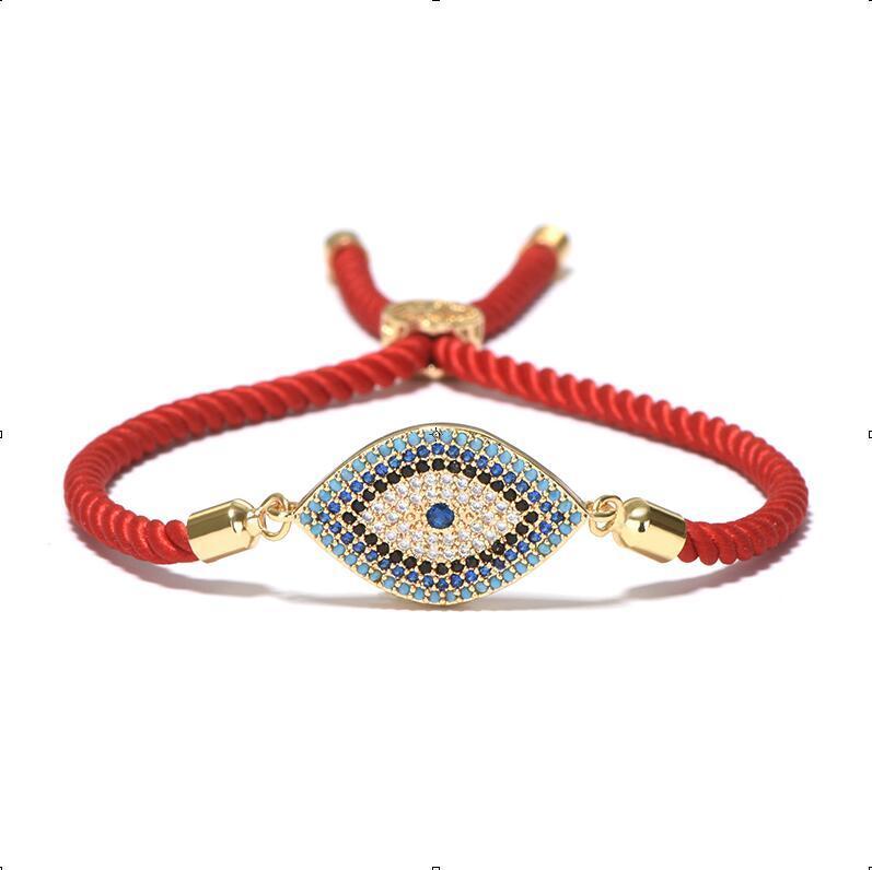 Braccialetto di cristallo del malocchio dell'occhio di lusso Corda rossa del filo Braccialetto etnico della Turchia le ragazze delle donne Mano Gioielli turchi fortunati