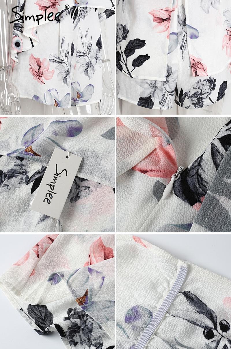 Simplee Sans bretelles imprimé floral barboteuse sexy tube vêtements de plage élégantes femmes combinaison barboteuse tenue de soirée en mousseline de soie justaucorps justaucorps