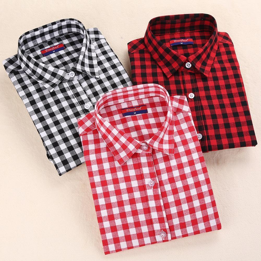 4469e9c120d 2019 Dioufond New Women s Plaid Blouse Cotton Women Long Sleeve Tops Ladies  Red Plaid Shirt Female Women Blouse Plus Size Shirt From Cutee