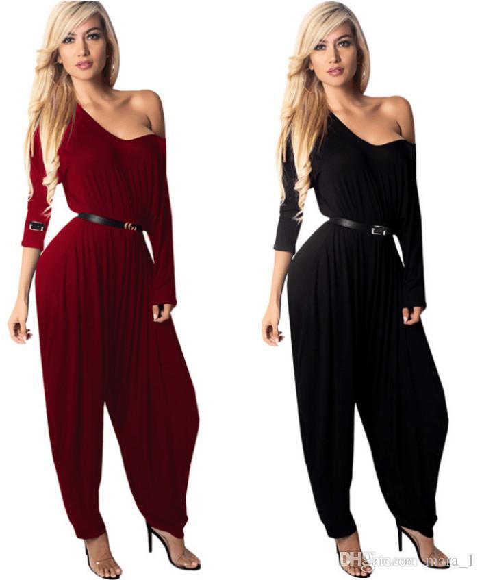 0de19f3b293e9 Acheter Femmes Sarouel Combinaison Manches Longues Barboteuses Deep V Neck  Salopette Body Designer Vêtements De Nuit Club Lâche Pantalon Noir Rouge  Couleur ...