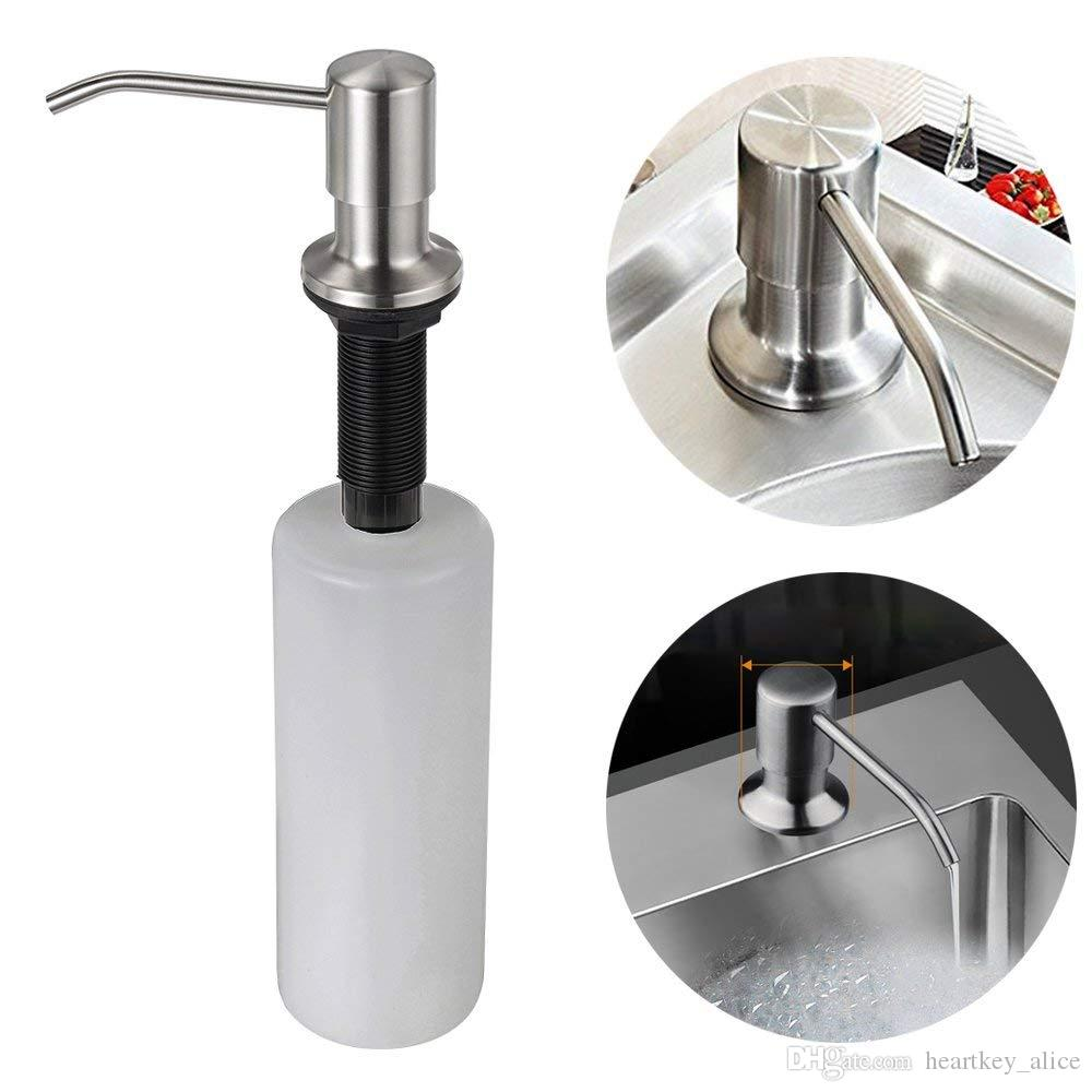Hot Kitchen Sink Soap Dispenser Stainless Steel Dish Soap Dispenser 350ml 12 Oz Stainless Steel Built In Hand Lotion Pump