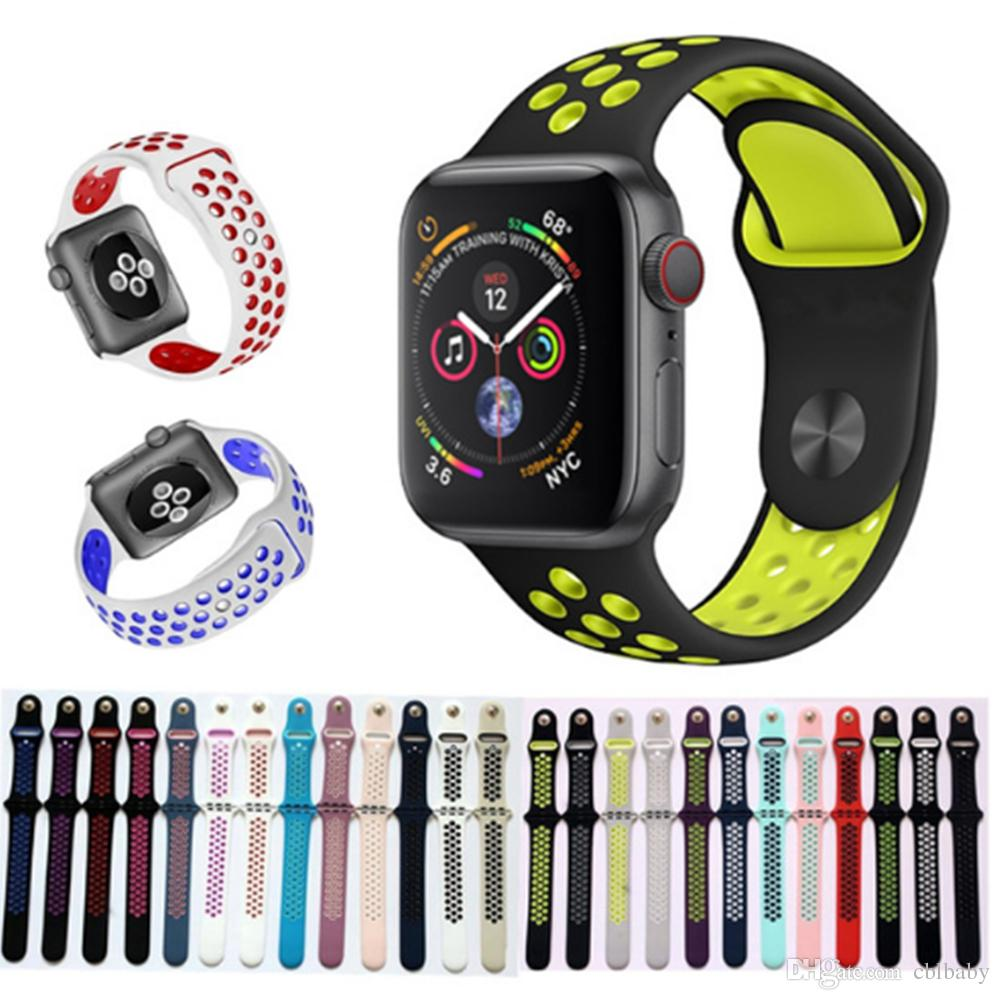 67749e48c Compre Para A Apple Watch Bandas De Substituição De Silicone 38mm 42mm 40mm  44mm Faixa De Relógio Cintas Pulseira De Luxo Para Apple Iwatch Series 1 2 3  4 ...
