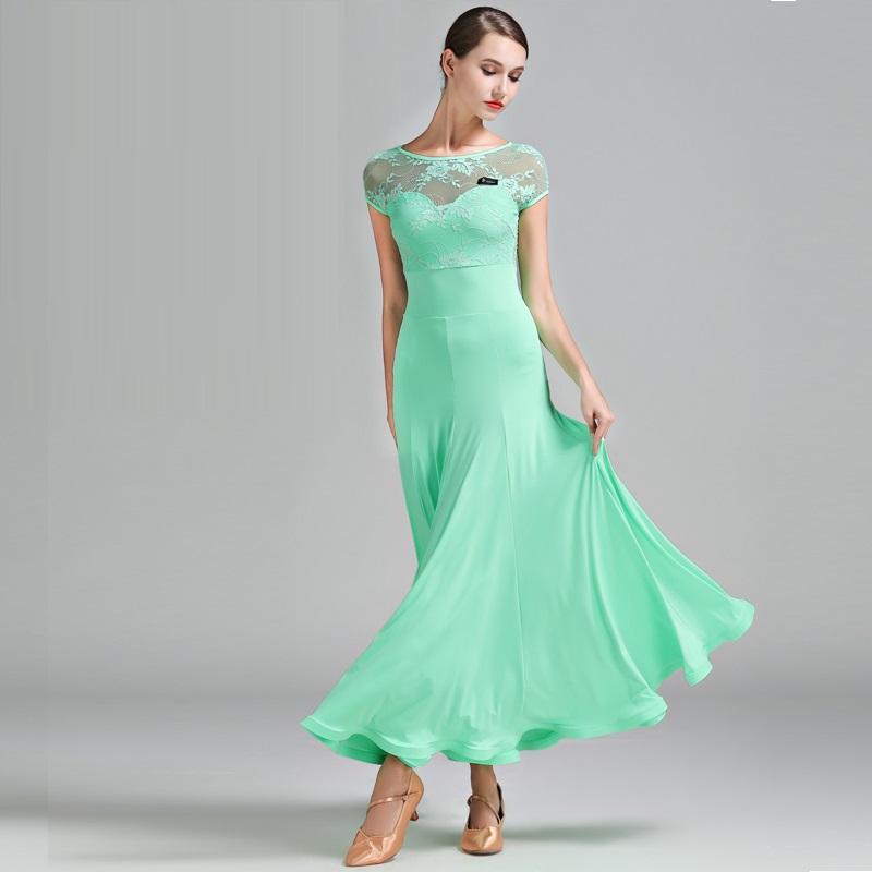 best sneakers 1963c 5d27c 3 colori verde vestito da ballo donna Foxtrot vestito da sala da ballo  valzer Abiti da ballo danza spagnola flamenco spagnolo indossare B-6182