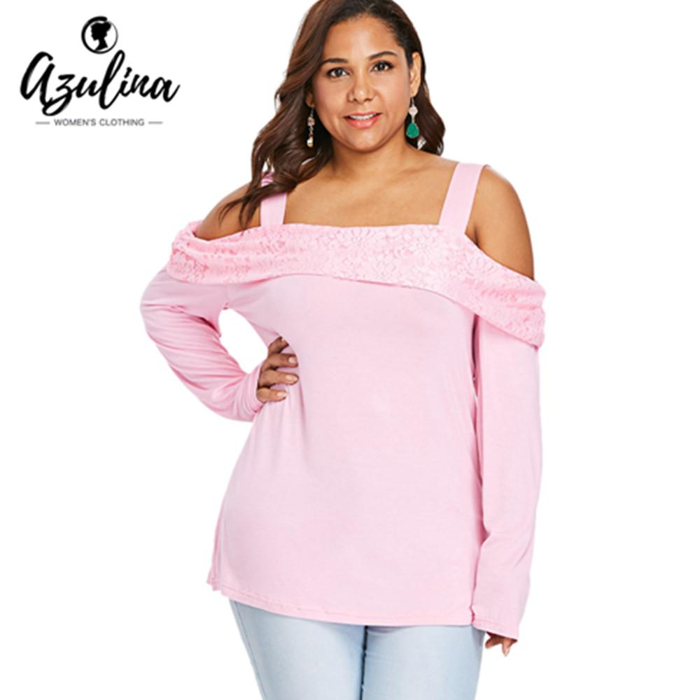 c6cb52e99a03b AZULINA Plus Size Cold Shoulder Foldover Lace Tunic Top T Shirt Women  Autumn Spring Square Neck Long Sleeve T Shirt Clothing 5xl Personalised T  Shirt Mens ...