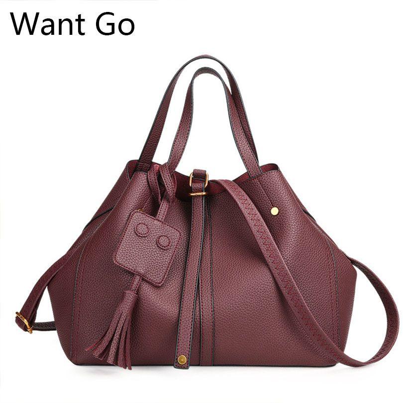 Want Go Hot Selling Women Trapeze Shape Tote Handbag High Quality Pu ... 13a076bc0731c