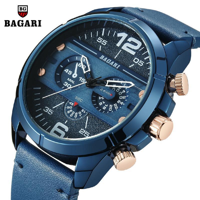 7a558ef3a1473 Acheter Montres De Luxe Pour Hommes Quartz Marque BAGARI Sport Bule Véritable  Homme Montres En Cuir Imperméable Horloges Mâles Mouvement Du Japon De  $31.62 ...