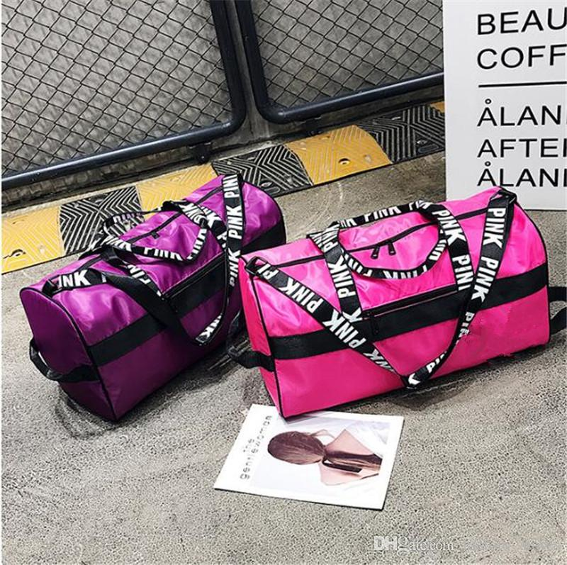 8ca0d70c07 Unisex Love Pink Letter Duffle Tote Bags Travel Gym Fitness Beach ...