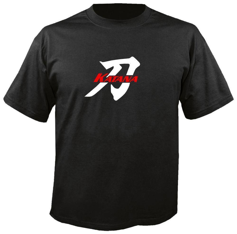 KATANA W/ KANJI BLACK T-SHIRT, suzuki gsxf motorcycle 600 750 gsx-f gsxr  kat knitted comfortable fabric street style men t-shirt