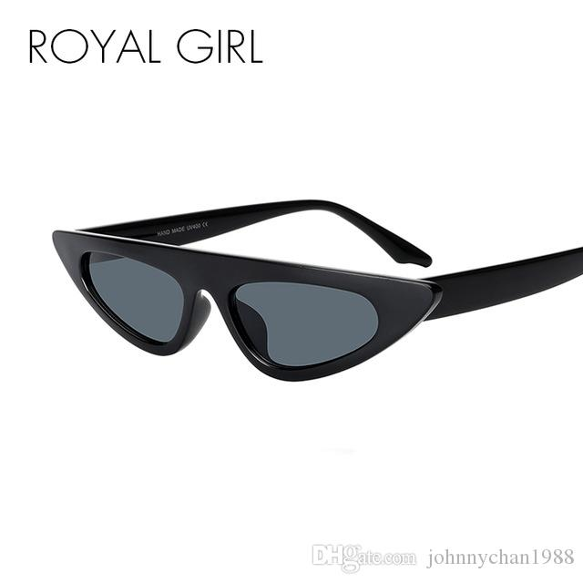 71733c44f048f Compre ROYAL GIRL Vintage Women Óculos De Sol 2018 Marca Designer Small  Triangle Black Cat Eye Gradient Óculos De Sol Para Mulheres UV400 Ss106 De  ...