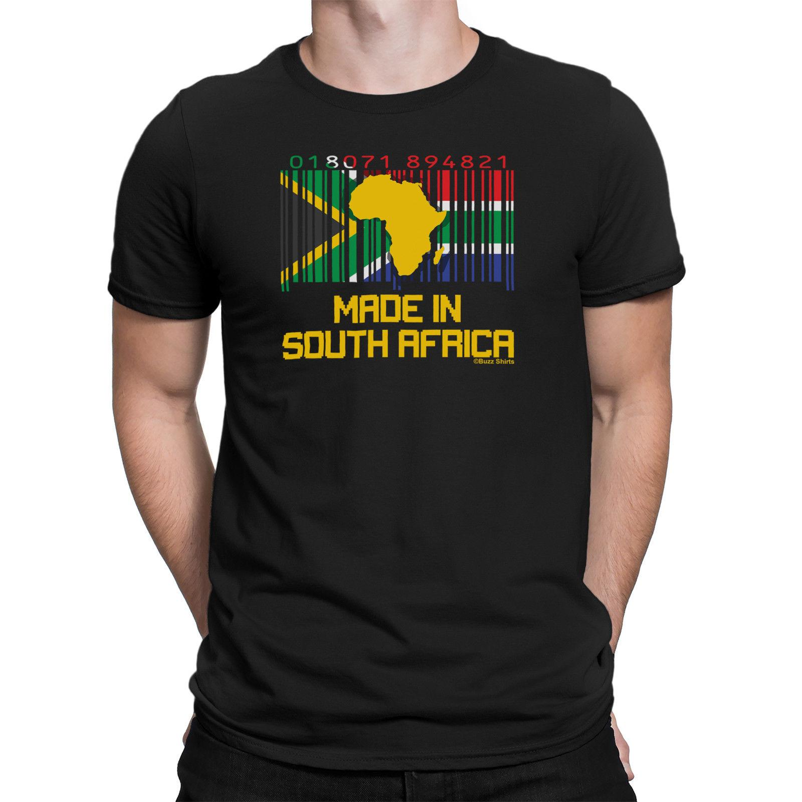 Dettagli zu Mens T-Shirt SOUTH AFRICAN BARCODE Made In RUGBY CALCIO Tee SUDAFRICA