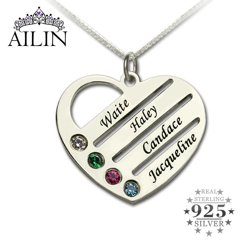 d354b09a14f28 Wholesale Family Necklace with Kids Names Engraved Heart Mother Necklace  Silver Birthstone Jewelry Christmas Gift for Mom