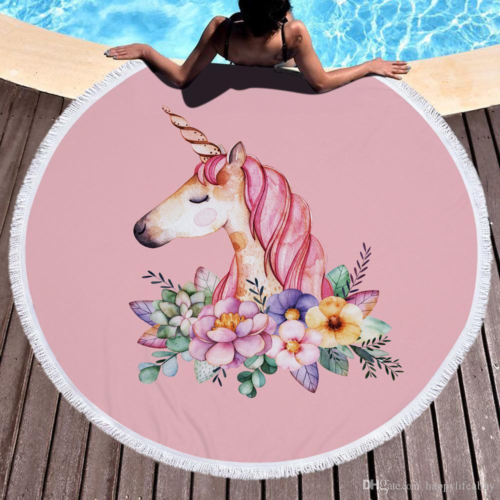 2019 Women Beach Unicorn Round Towel Cotton Terry Floral Rose