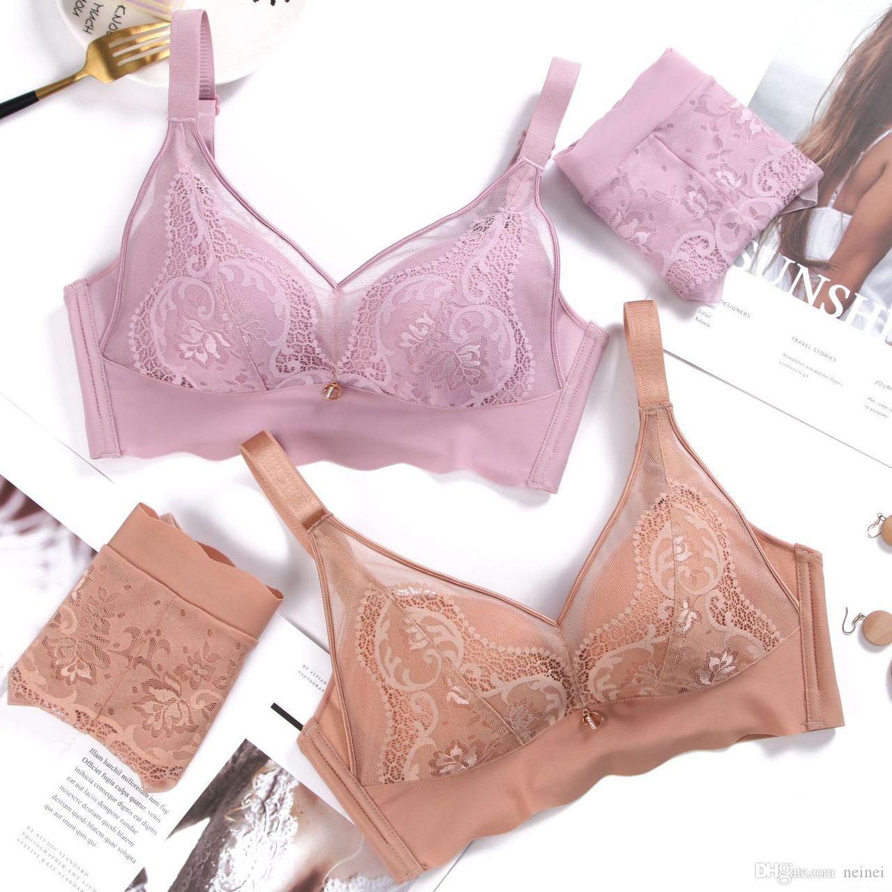 d92f2d69333 2019 34 90 AB Cup Seamless Push Up Thin Lace Underwear Set 2018 Autumn New  Bra And Panty Sets Sexy Lingerie Sets Bralette Bra Brief From Neinei