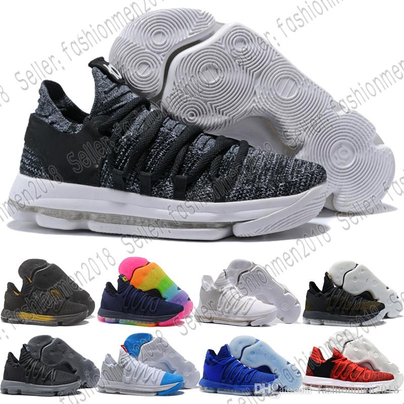 official photos 751e8 1ed02 2019 With Box Chaussures 10 KD Mens Basketball Shoes KD 10 Sneakers Triple  White BHM Oreo Anniversary Elite Kevin Durant 10s Trainers7 12 From ...