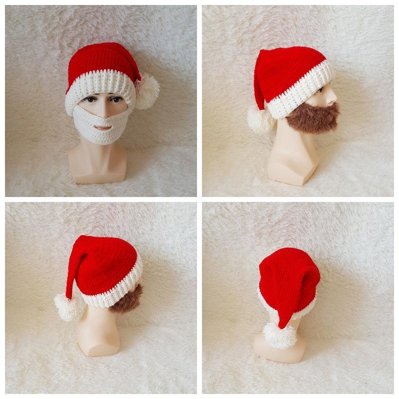 Compre Sombreros De La Barba De La Navidad Gorra Hecha Punto De La ...