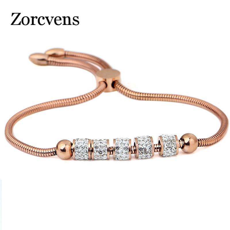 Zorcvens Gold Silber Farbe Edelstahl Herz Armband Armreif Modeschmuck Runde Kette & Link Armbänder Für Frauen Schmuck & Zubehör