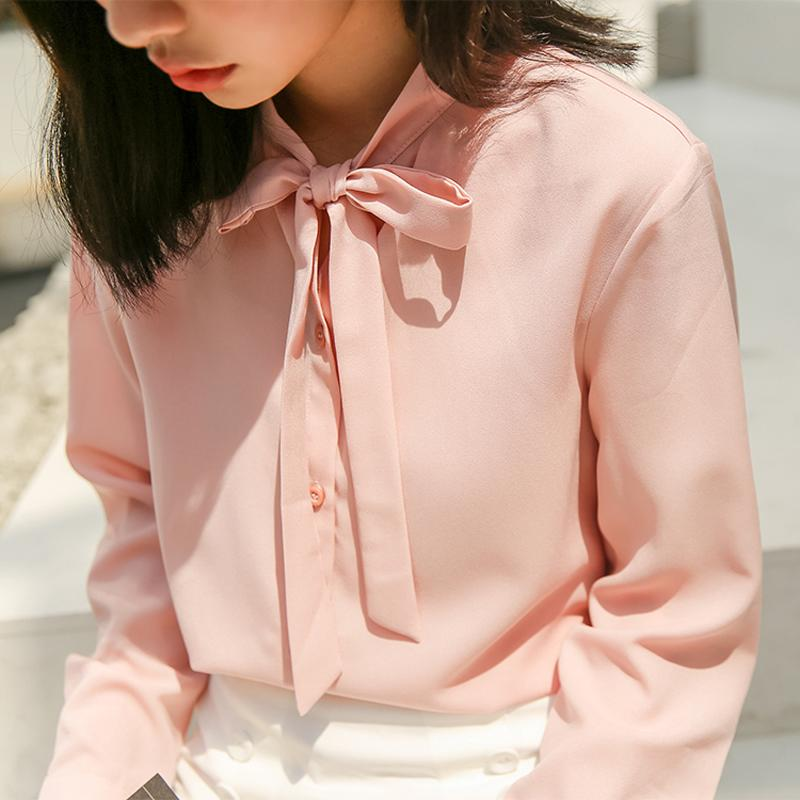 7c604a159e5c 2018 Autumn New Women Casual Shirts Korean Lace-Up Long Sleeve Slim ...