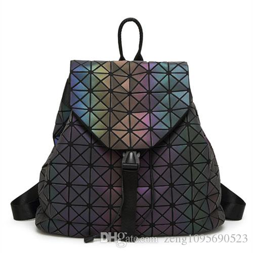 02b524027b Women Geometric Luminous Backpack Handbag Fashion Shoulder Bag Lingge Flash  Travel Rucksack Cool Backpacks Travel Backpack From Zeng1095690523