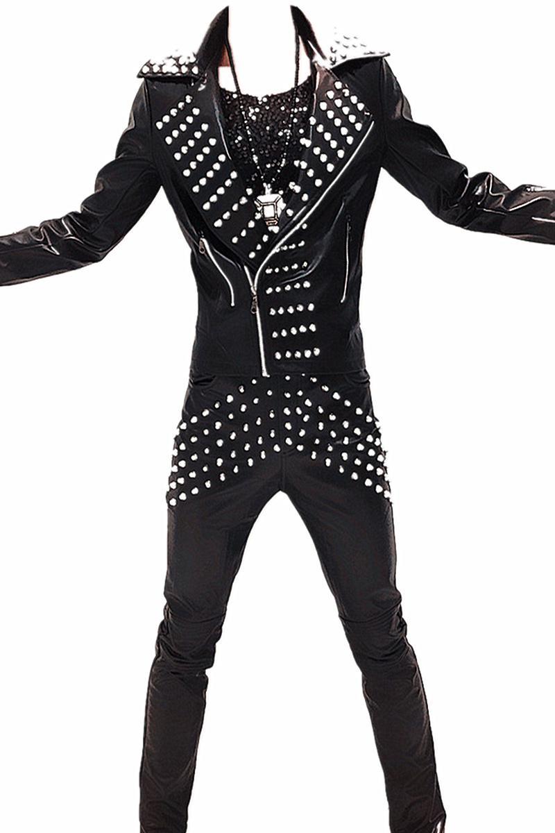 Mâle PU en cuir rivet costume de la marée des clients de la mode pantalons de veste 2 pièces ensembles scène pantalon de manteau rock show discothèque bar prom dj