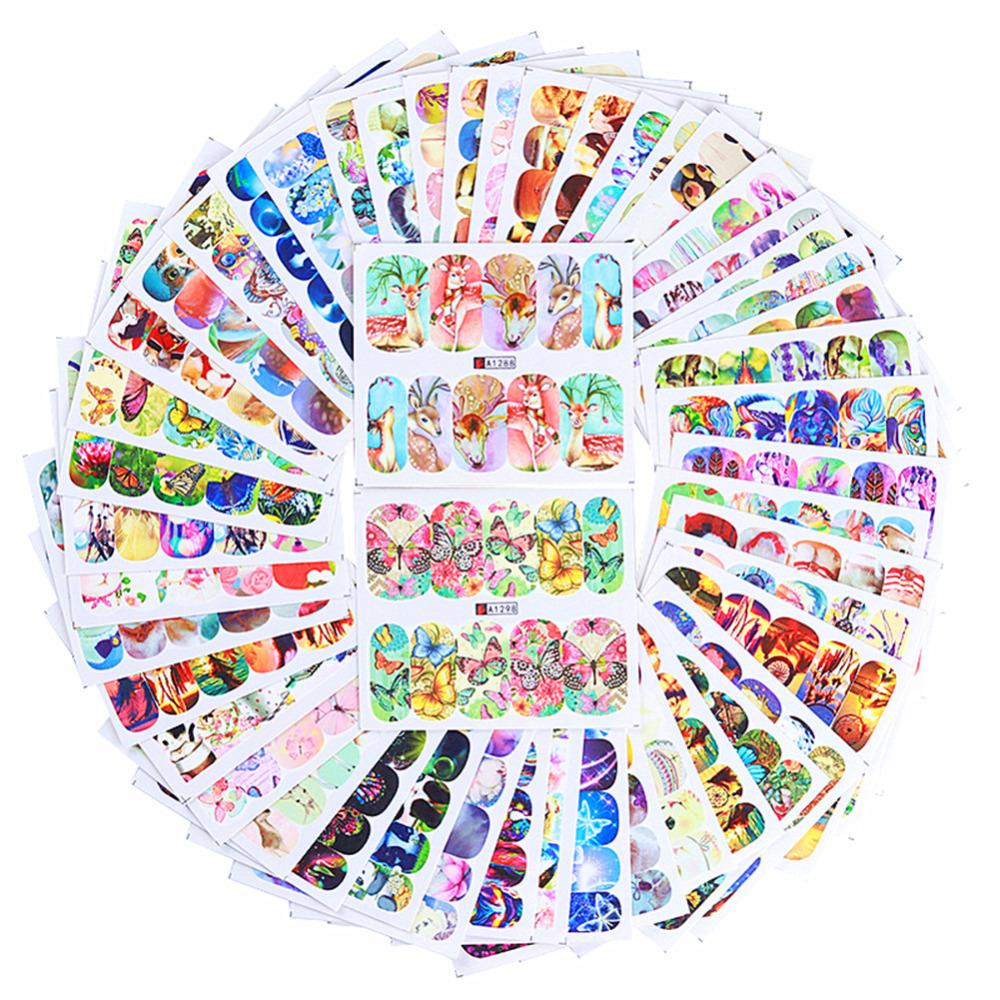 50 Sheets Animal Water Decal Buerfly Cat Dog Dream Catcher Colorful Nail Art Transfer Sticker
