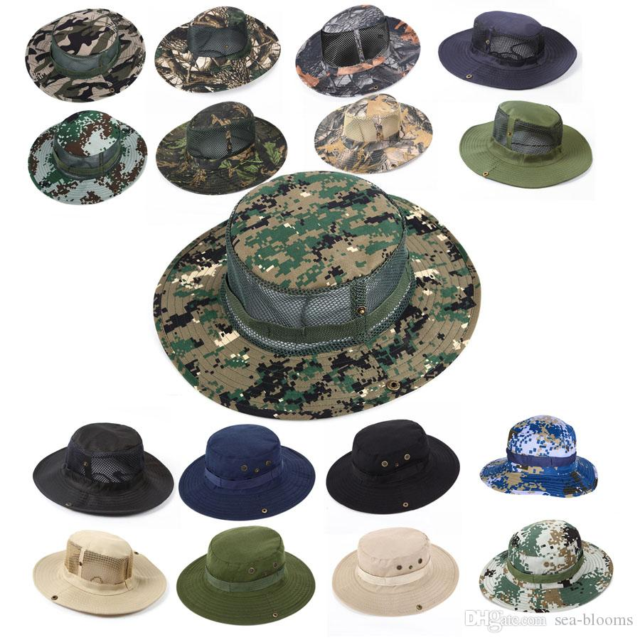 32 Styles Summer Outdoor Military Camo Fishing Mesh Hat Hunting ... 98e53476286