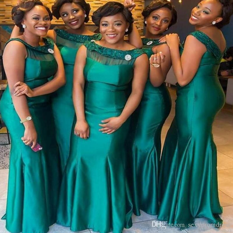 6e2ee4dfd790c1 Dark Green Plus Size Bridesmaid Dresses For Wedding Satin Mermaid Maid Of  Honor Gowns South African Long Bridesmaid Dress Custom Made Alfred Sung  Bridesmaid ...