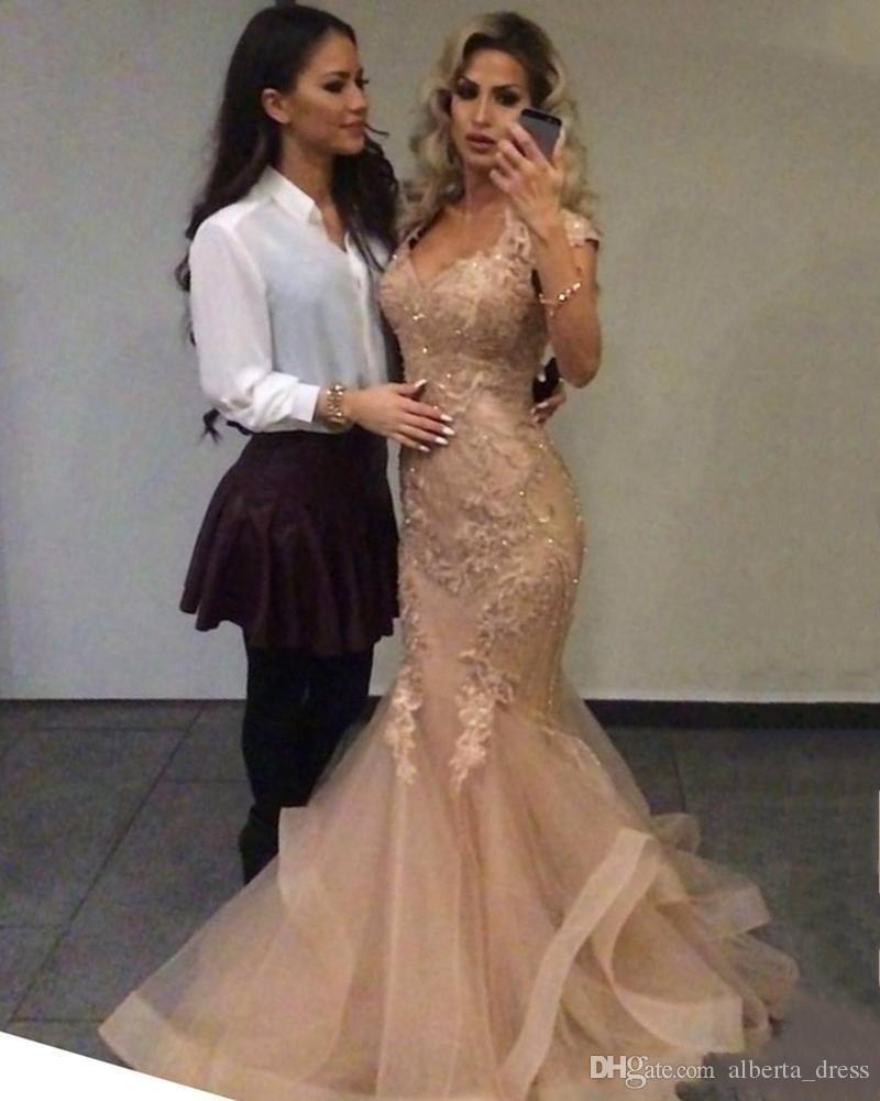 Gorgeous Evening Dresses Wear Sweetheart Cap Sleeves Lace Applique Beads Bling Tiered mermaid prom dresses Hollow Back Long Party gown