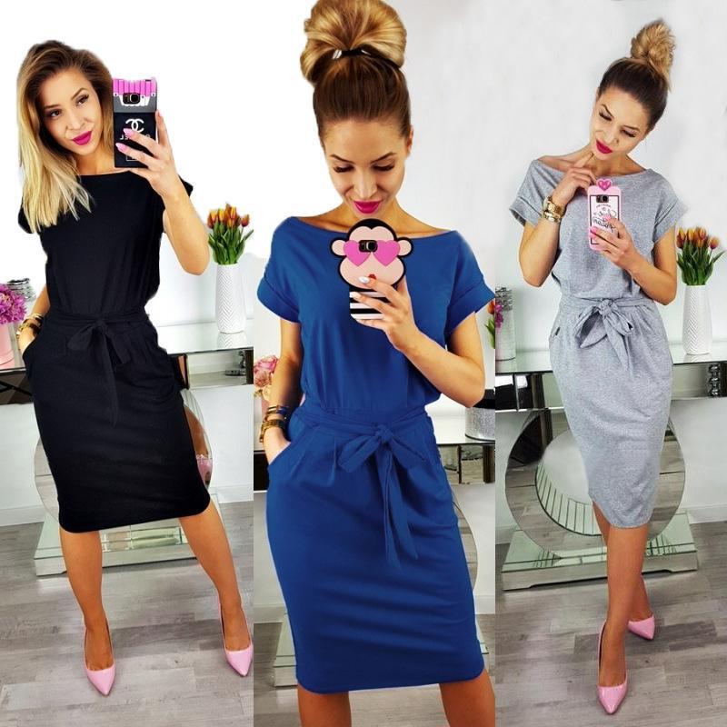 4908f12e29b67 2018 New Summer Fashion Women Casual Short Sleeve O Neck Straight Black  Gray Blue Dress Loose Plus Size Pocket Cotton Midi Dress D1891203 Styles  Dresses ...
