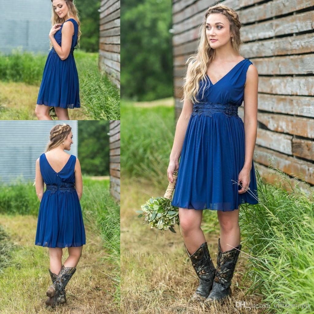 Short Country Bridesmaid Dresses 2019 Cheap V Neck Ruched