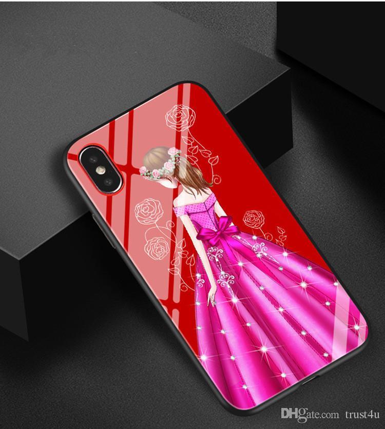 Super Belle Fille Déesse Robe De Mariée Motif En Verre Trempé Dur Couverture De Boîtier En Plastique Pour Iphone6 6S 7 7S 8 6P 7P 8P X