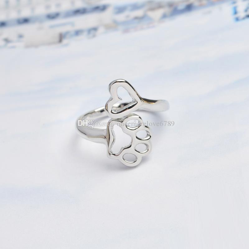 الأزياء الفضة مطلية بالذهب الكلب باو طباعة القلب الحب سحر للتعديل حلقة مفتوحة الحيوان الكلب مجوهرات للنساء