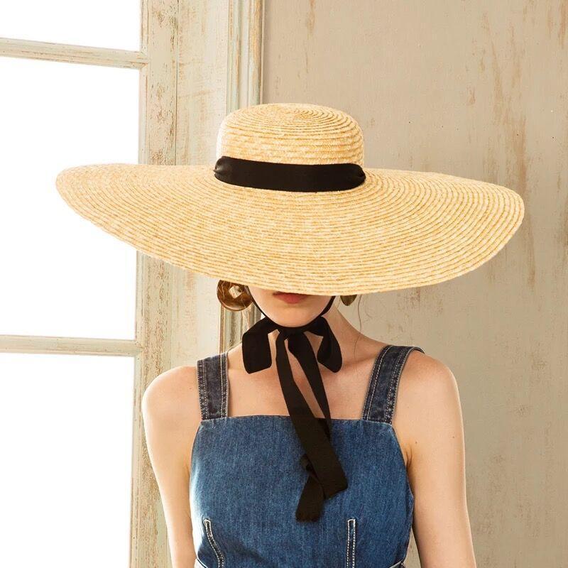 Muchique Wide Brim Straw Hats Beach Hat Women Summer Sun Hats Boater Hat  With Ribbon Tie Fishing Hat Wide Brim Fedora From Shemei 7c3ca52855ad