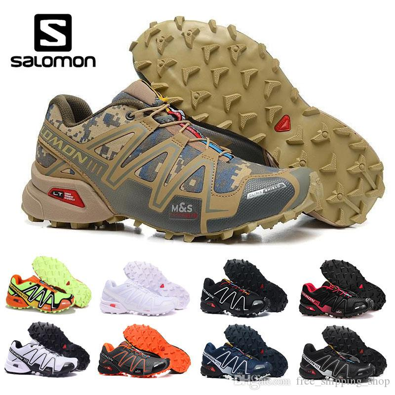 the latest 3a73a 446a5 Acheter Salomon Nouveau Arrivel Desert Color Camouflage Chaussures Homme  Speed Cross 3 CS Cross Country Rouge Noir Outdoor Chaussures Chaussures  D escrime ...