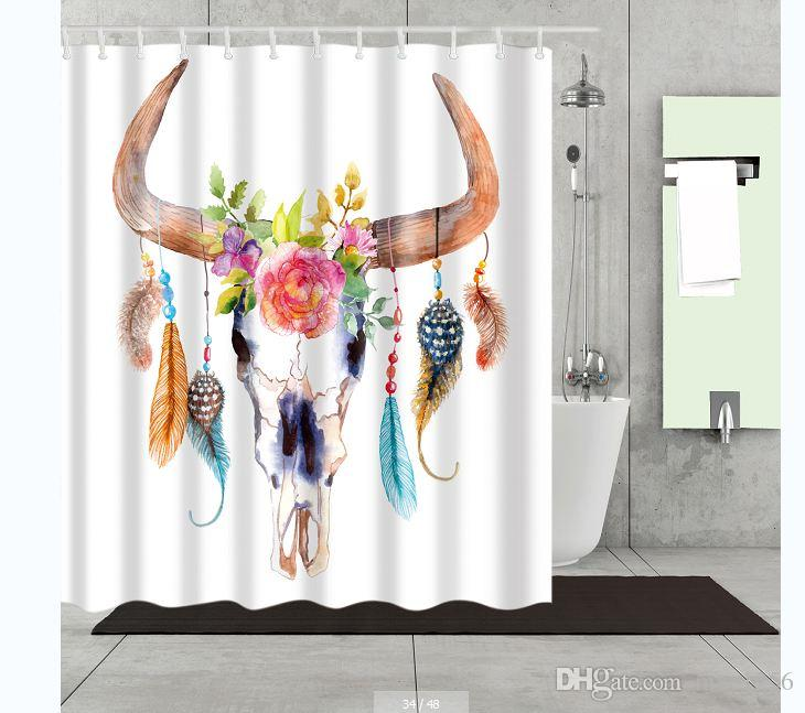 2019 DREAM CATCHER BY COW SKULL Bathroom Cartoon Shower CurtainsFabric CurtainThin Curtain12 Hooks12 RingsWaterproof180cm 7171 From Mxc1256