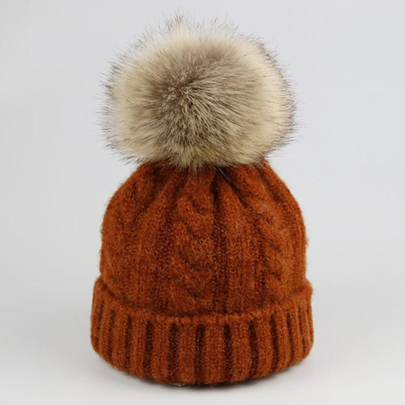 2019 New Baby Autumn Winter Warm Hat Baby Boys Girls Crochet Winter Warm  Hats Knitted Fur Pom Caps Children Beanies Kids Thick Cap From Qingbale c4c471e2a78d