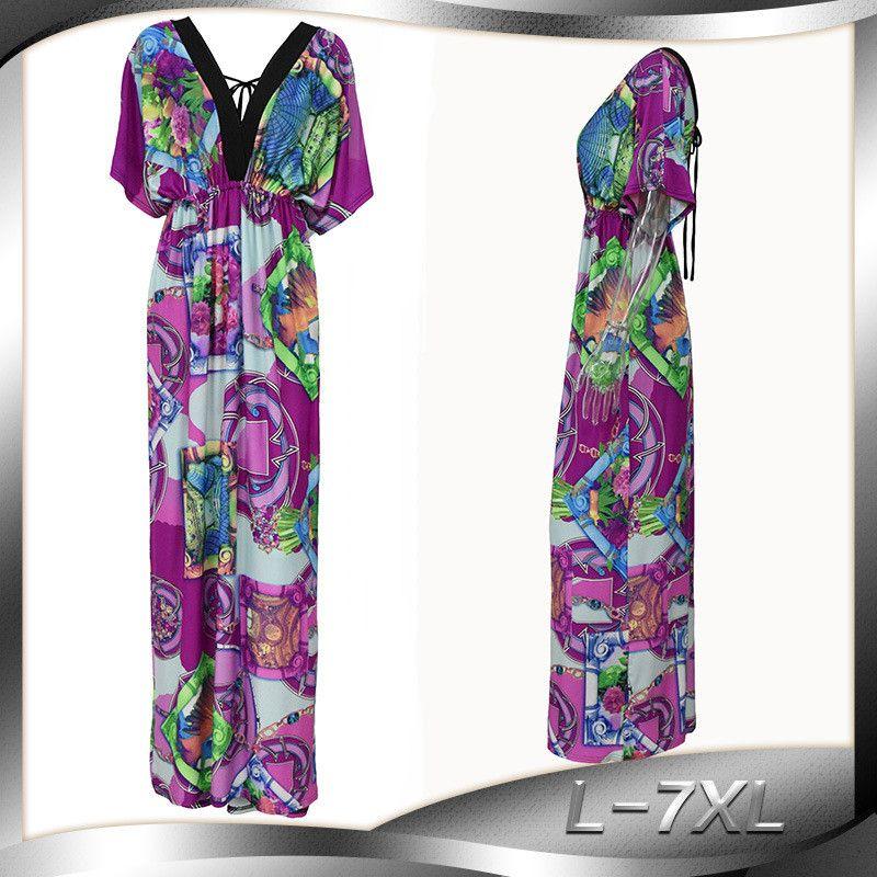 7dc450e35ae 2018 Plus Size M-6XL Women Clothing Double V Neck Batwing Short ...