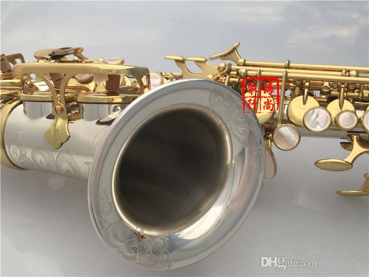Marque InstrumentYANAGISAWA SC-9937 Professionnel incurvé Saxophone Soprano Argenté Laiton Sax Embouchure Patchs Plaquettes Roseaux Cou Coude