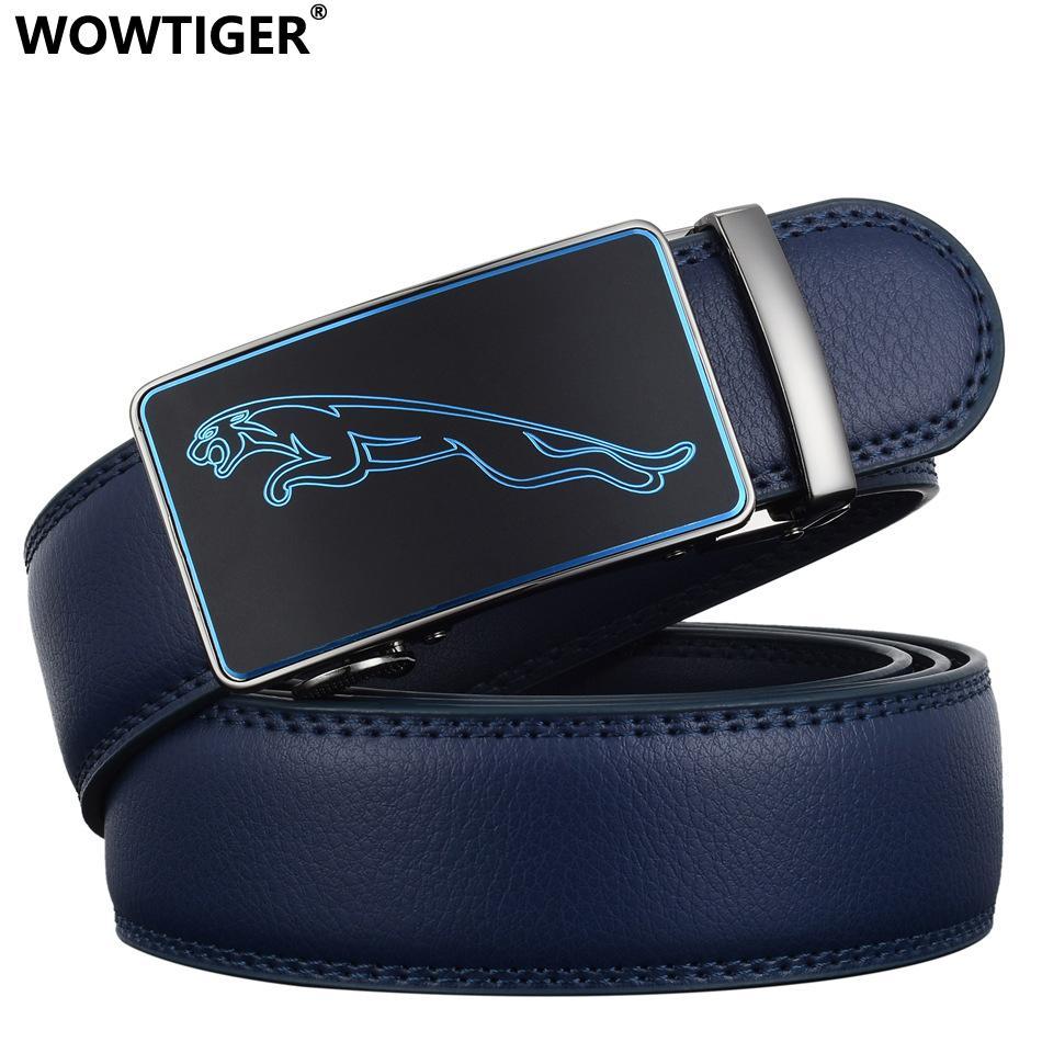 TIGER New Fashion Designer 3.5cm Belts for Men Sliding Buckle Ratchet Luxury Leather Men`s male Belt ceinture homme