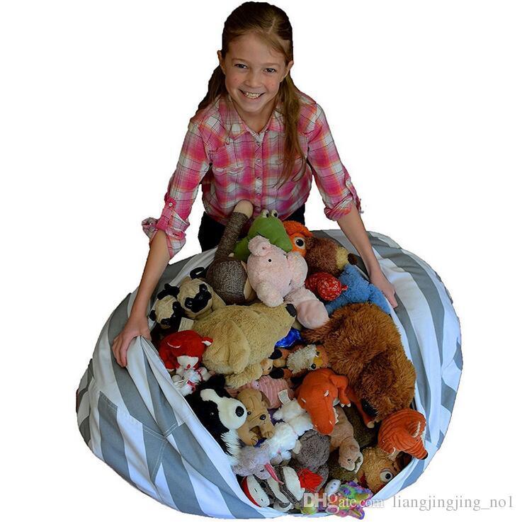 Bolsa de frijoles de almacenamiento de juguete de felpa es Beanbag Silla Esteras de la sala de relleno Bolsa suave rellena Bolsa de frijoles de almacenamiento de la raya EEA11