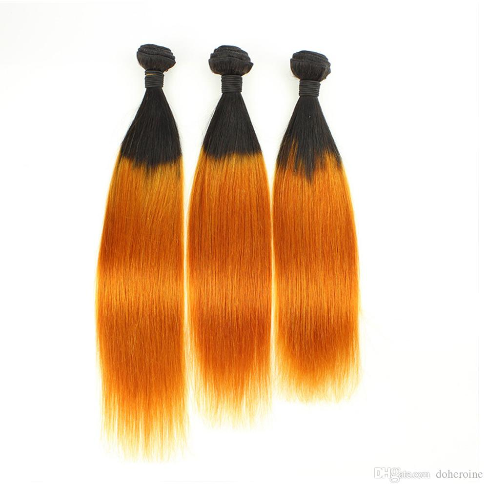 Doheroine Pre-Colored Human Hair Bundles With Closure Bazilian Straight Human Hair 3 Bundles With Lace Closure 1B/Yellow Ombre Color Bundles