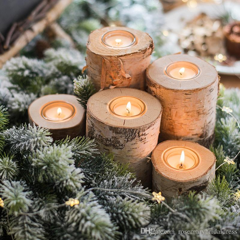 wooden candlestick candle holder table decoration wood colorwedding party wooden decor furniture candle favors without candle candle holder candle favors - Christmas Log Candle Holder Decorations
