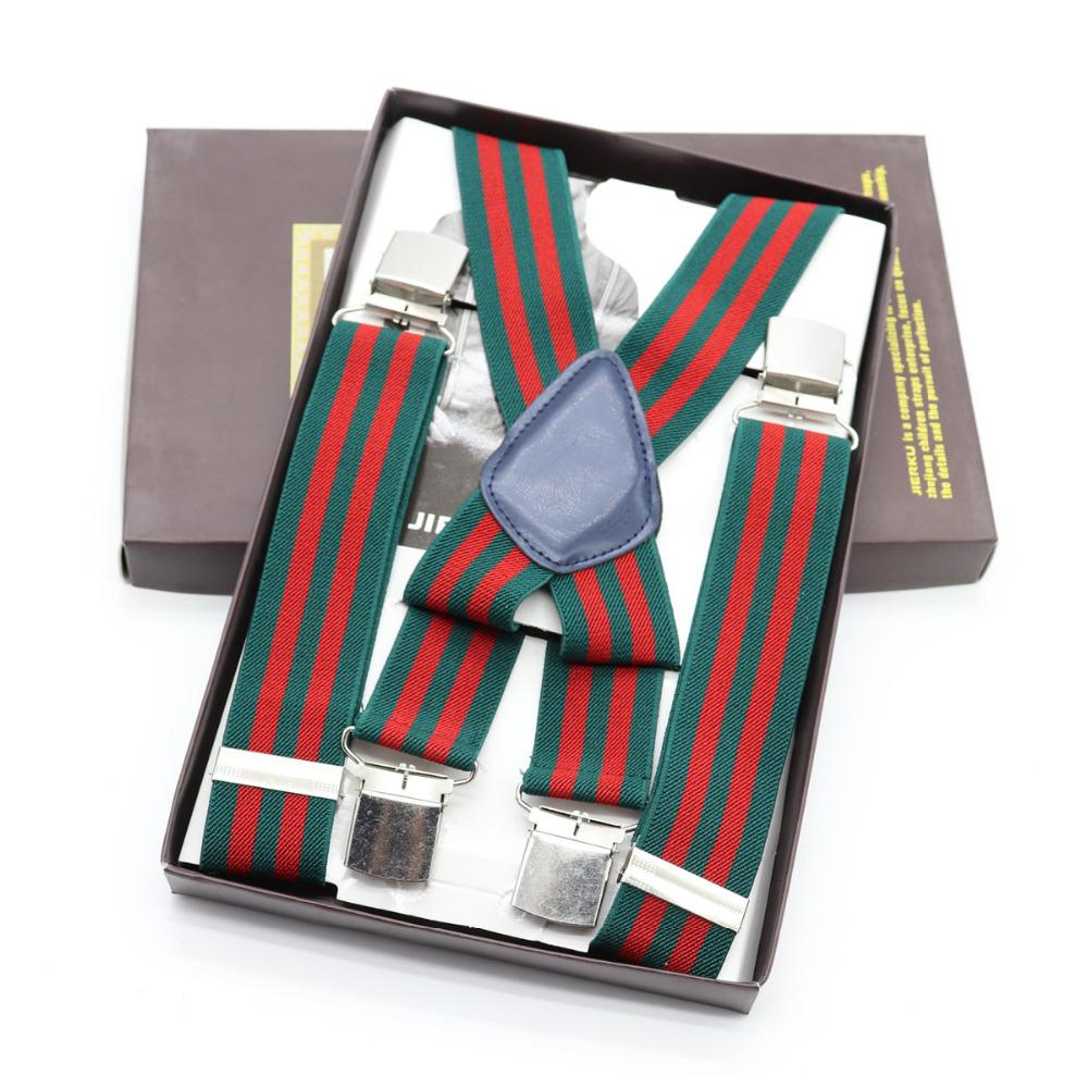 Apparel Accessories New 3 Clip Plaid Geometry 3.5 Cm Wide Elasticity Suspenders For Women Men Child Gentleman Shirt Decoration Wedding Groom