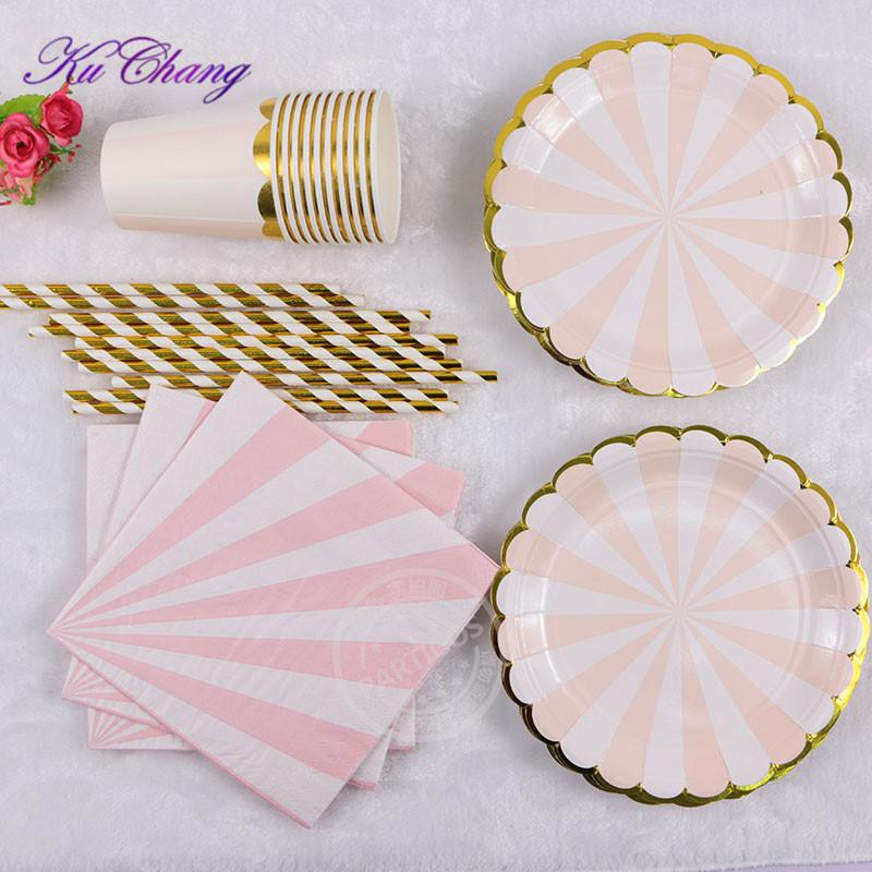 Gilding High-end Disposable Tableware Set Pink Striped Paper Plates ...
