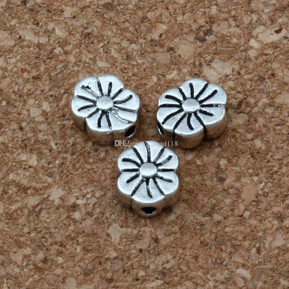 Antique Liga de Prata Achatada Flor Espaçador Espaçador Para Jóias Fazendo Pulseira Colar DIY Acessórios 7x8.5mm D35