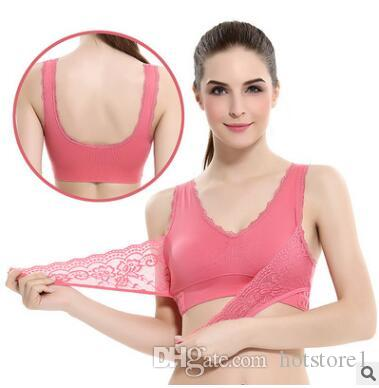 96b4b290272b0 2019 Front Cross Side Buckle Gathering Lace No Rims Sports Bra Fitness Yoga  Running Shockproof Sports Underwear Female From Hotstore1
