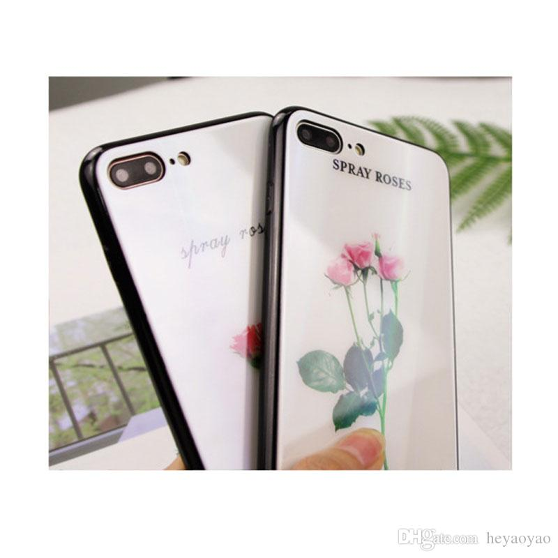 Laser gradient color Small fresh flower pattern case for iphone X 6/6s 6 plus/6s plus 7/8 7/8 plus glass Cell phone cases + Ring bracket