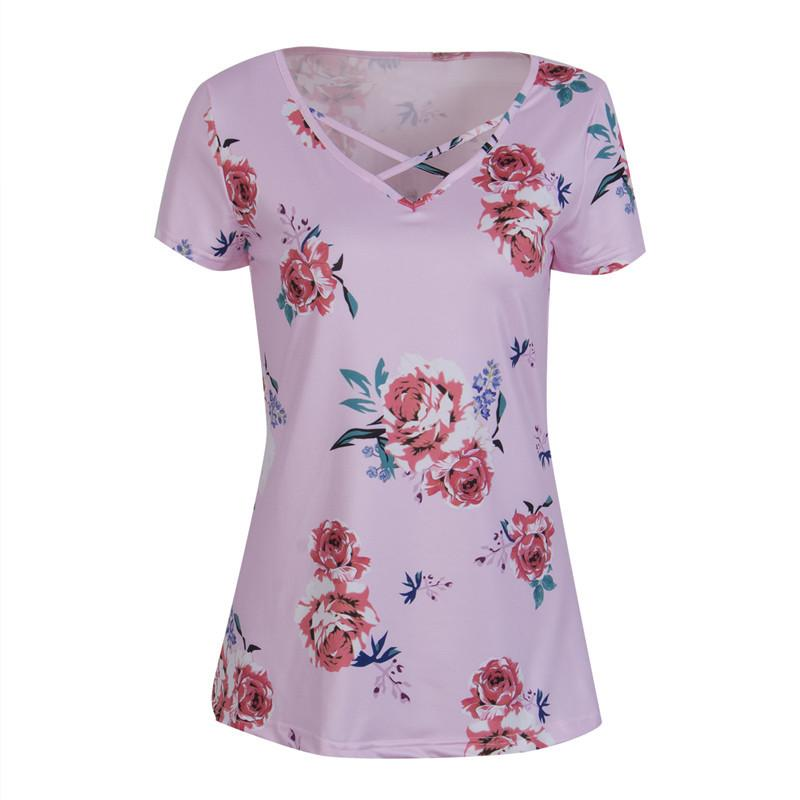 b5b873cf Summer Floral Tee Tops T Shirt Women Short Sleeve V Neck Tee Shirt Loose Casual  Tee Femme Tunic Bandage Tops Female T Shirts Cool Tee Funny Graphic T Shirts  ...